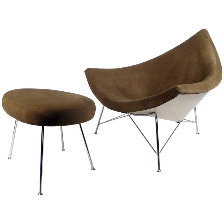 Coconut Chair and Ottoman by George Nelson 1955 brown suede