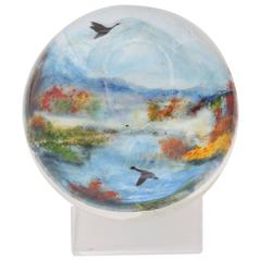"Rick Ayotte Glasscape Paperweight Titled ""In Flight"""
