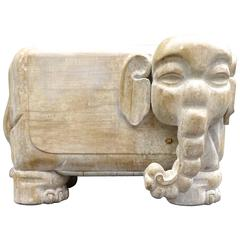 Sculptural 1970s Italian Carved Wood Elephant Table