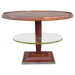 Art Deco Oval Occasional Table with Floating Glass Shelf