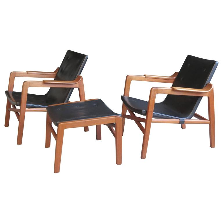 "Group of ""Fireplace Chairs"" with Footstool by Tove & Edvard Kindt-Larsen For Sale"