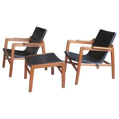 "Group of ""Fireplace Chairs"" with Footstool by Tove & Edvard Kindt-Larsen"