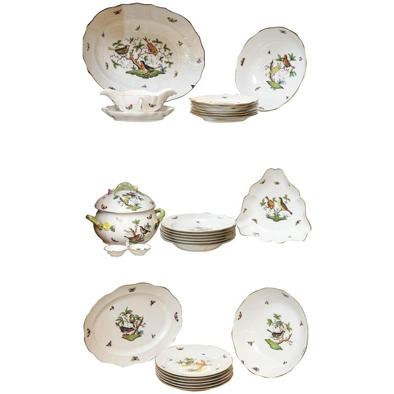 Hungarian 27 Pieces Rothschild Porcelain Hand-Painted Dinnerware Set For Sale  sc 1 st  1stDibs & Hungarian 27 Pieces Rothschild Porcelain Hand-Painted Dinnerware Set ...