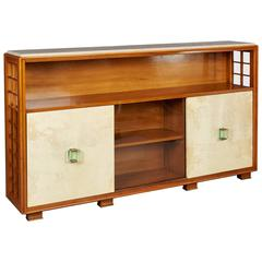 Architectural 1950s Walnut and Parchment Cabinet Attributed to Borsani