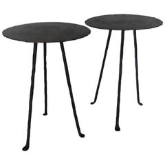 Dos Gallos Tiny Custom Iron and Bronze Tripod Tables