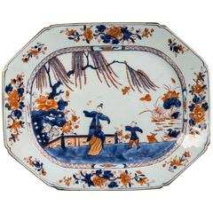 Chinese Export Underglazed Blue and Polychrome Octagonal Platter, circa 1800