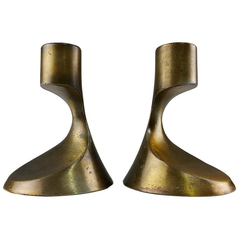 Sculptural Brass Candleholders Attributed to Ben Seibel, 1950s 1