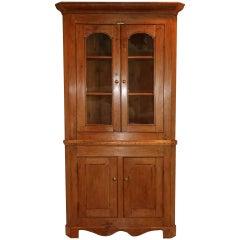 English Pine Glazed Corner Cupboard, circa 1860