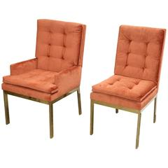 Set of Six Brass and Orange Chenille Dining Chairs by Milo Baughman for DIA