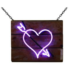 Purple Heart with Arrow on Salvaged Wood