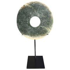 Qi Jia Early Bronze Age, China Jade Bi Disc with Custom Contemporary Stand