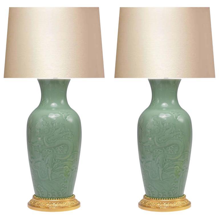 Pair of Celadon Glazed Porcelain Lamps