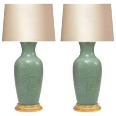 Pair Of Celadon Porcelain Brass Table Lamps At 1stdibs
