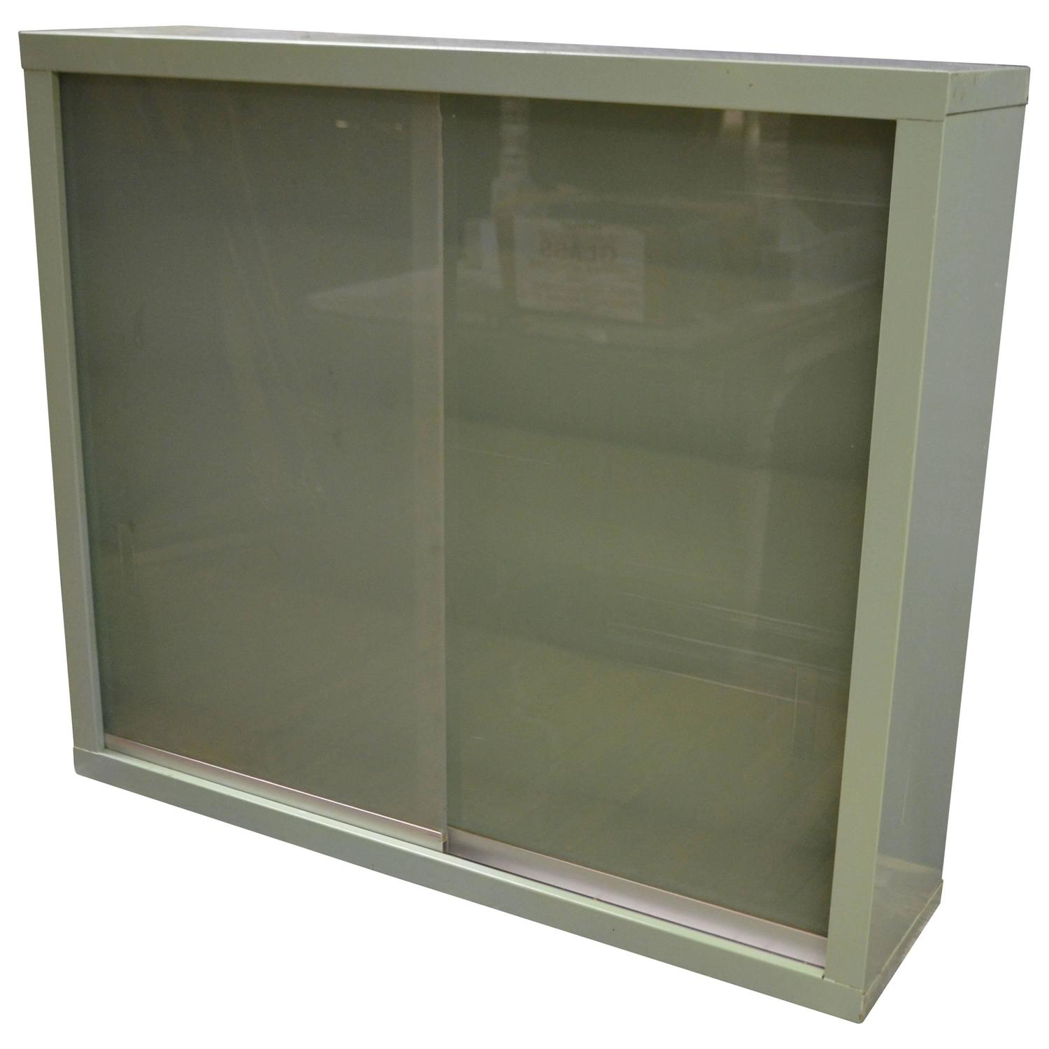 Dental wall cabinet with sliding glass doors at 1stdibs Glass cabinet doors
