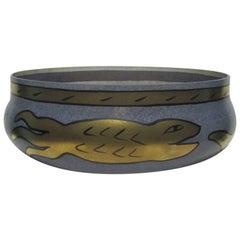 Signed Scandinavian Glass Centerpiece Bowl with Gold Serpent Snake, 1990s