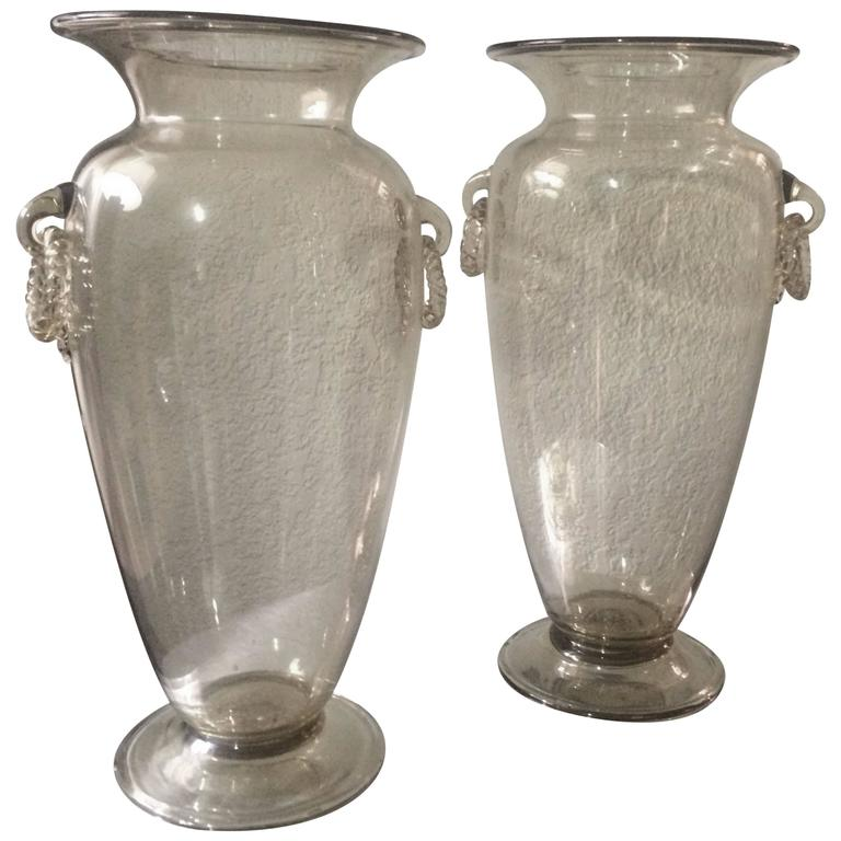pair of venetian glass vases with handblown decorative rings in champagne for sale at 1stdibs. Black Bedroom Furniture Sets. Home Design Ideas