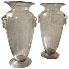 Pair of Venetian Glass Vases with Handblown Decorative Rings in Champagne