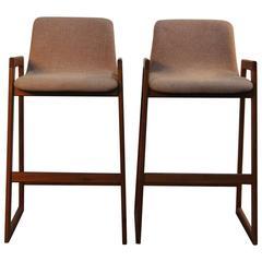 Pair of Danish Teak and Upholstered Bar Stools