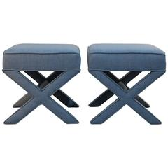 Pair of Custom Upholstered X Benches