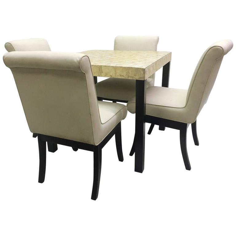 VKG Dining Or Game Set With Abalone Top Table And Four Chairs For Sale