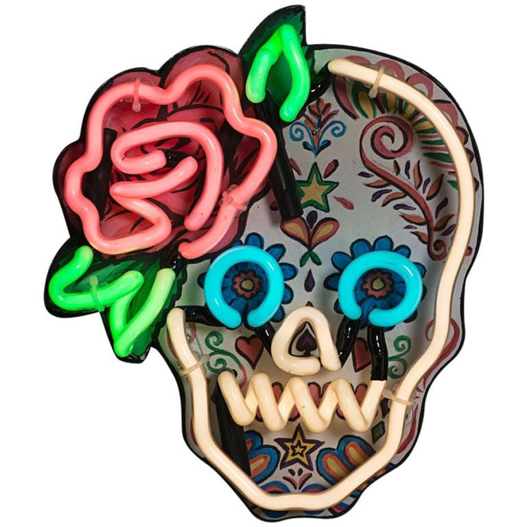 Mexican Sugar Skull With Neon Outline And Rose Detail At