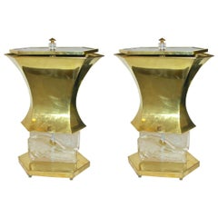 Gucci 1980s Italian Pair of Post Modern Crystal and Silve Glass Gold Brass Lamps