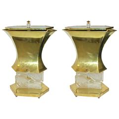 Gucci 1980s Italian Pair of Modern Gold Brass and Glass Lamps
