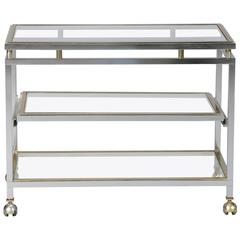 Midcentury Chrome Brass and Glass Serving Trolley in Style of Maison Jansen