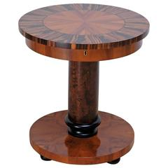 Round Art Deco End Table in Massacre Ebony and Mahogany