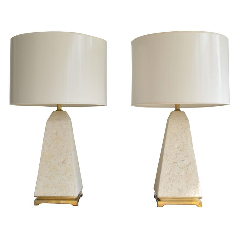Pair of Postmodern Coral Stone Obelisk Form Table Lamps