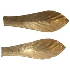 Midcentury Pair of Italian Gold Color Murano Glass Leaf Sconces