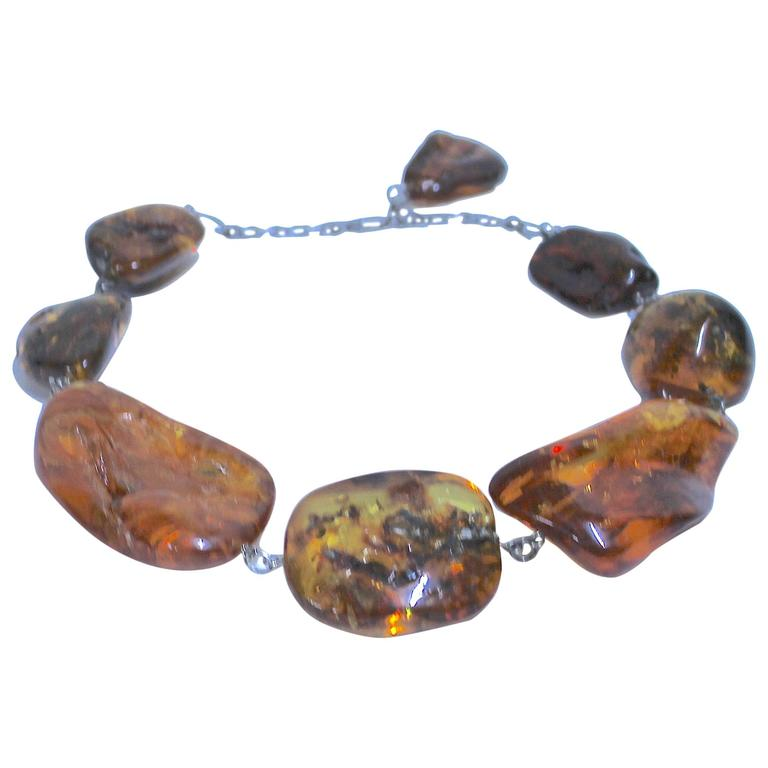 Special Vintage Massive Graduated Baltic Amber Necklace with Inclusions For Sale