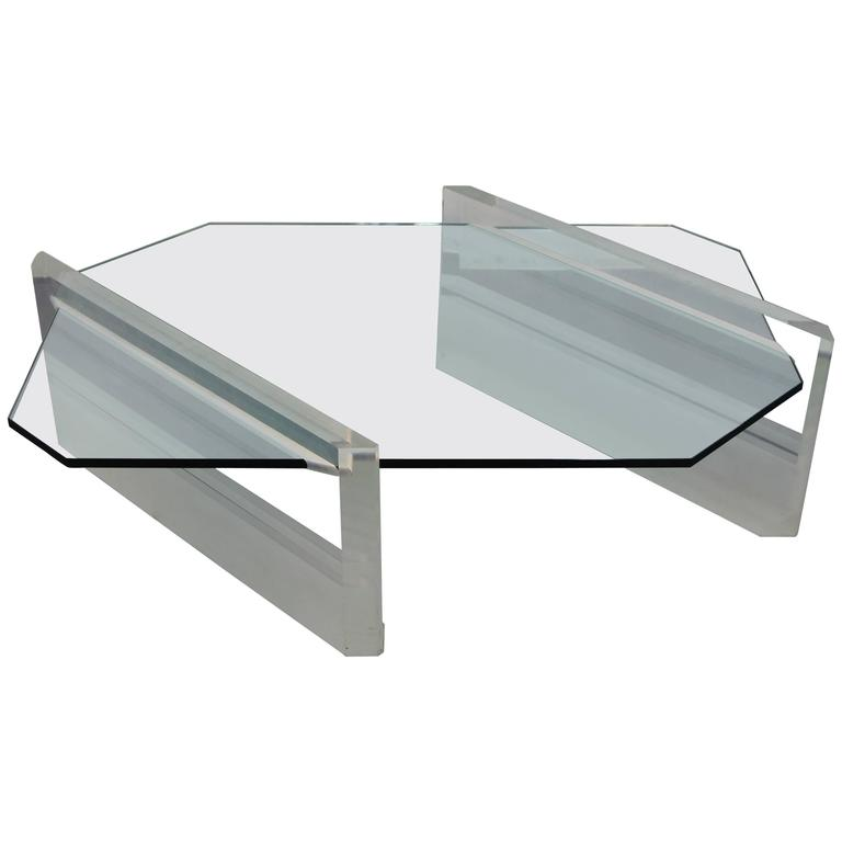 Asymmetric Glass and Lucite Base Coffee Table