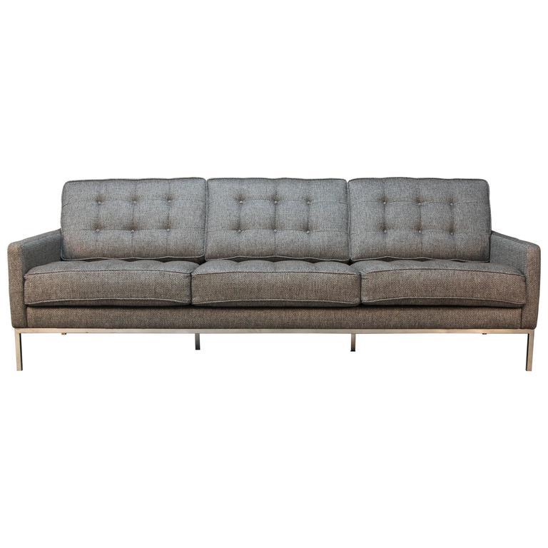 Knoll Style Chrome Frame Box Stitch Modern Sofa At 1stdibs
