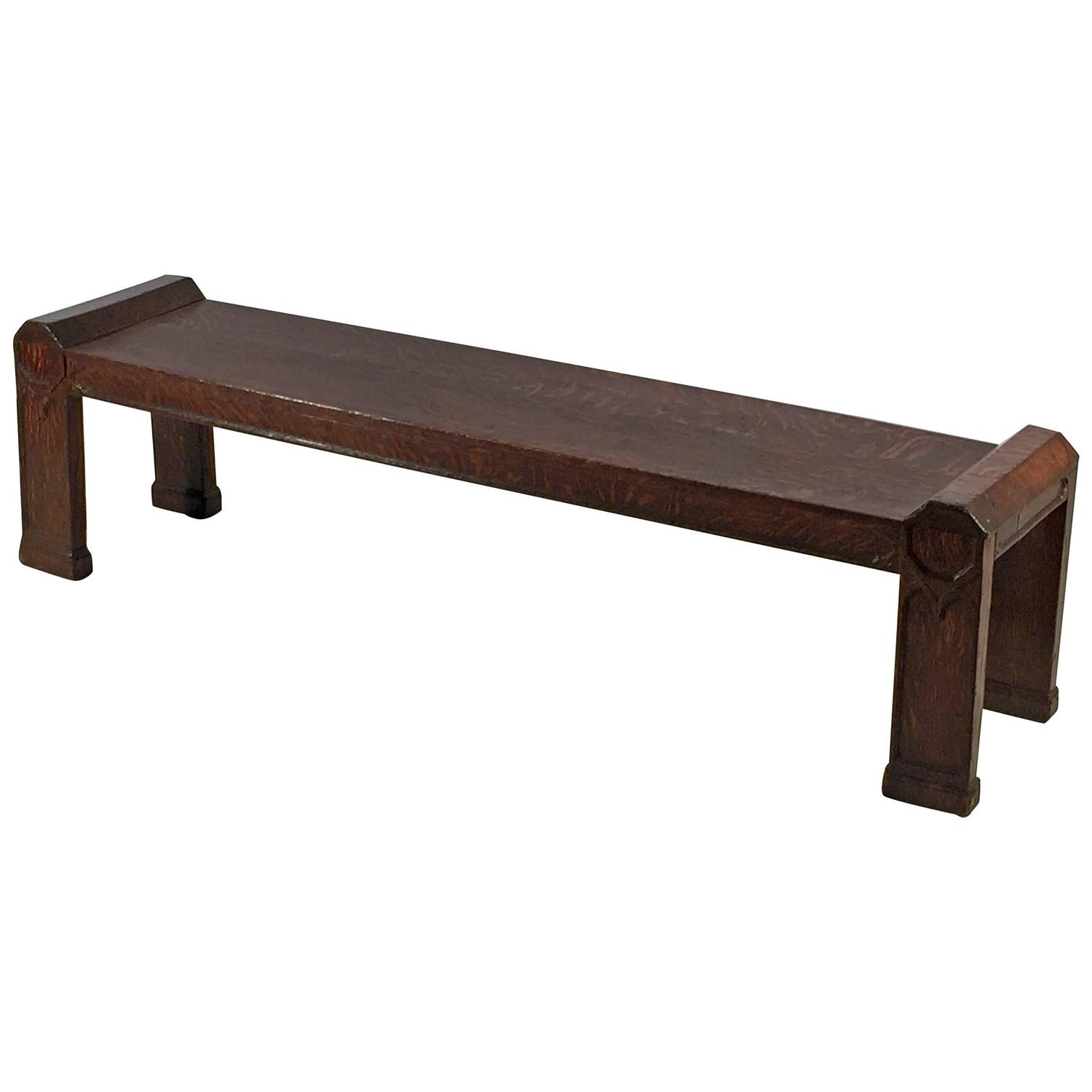 English Long Bench In The Gothic Style At 1stdibs