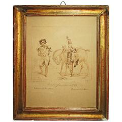 Early 19th Century French Ink Drawing in Sanguine, French Troops of 1793