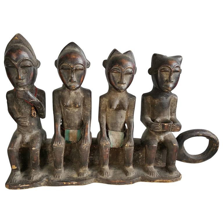 Rare African Ceremonial Four-Figure Carved Wood Sculpture