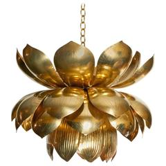 Large Scale Brass Lotus Pendant Chandelier by Feldman