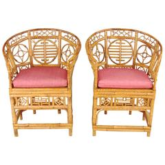 Pair of Chinese Export Bamboo Armchairs with Caned Seats