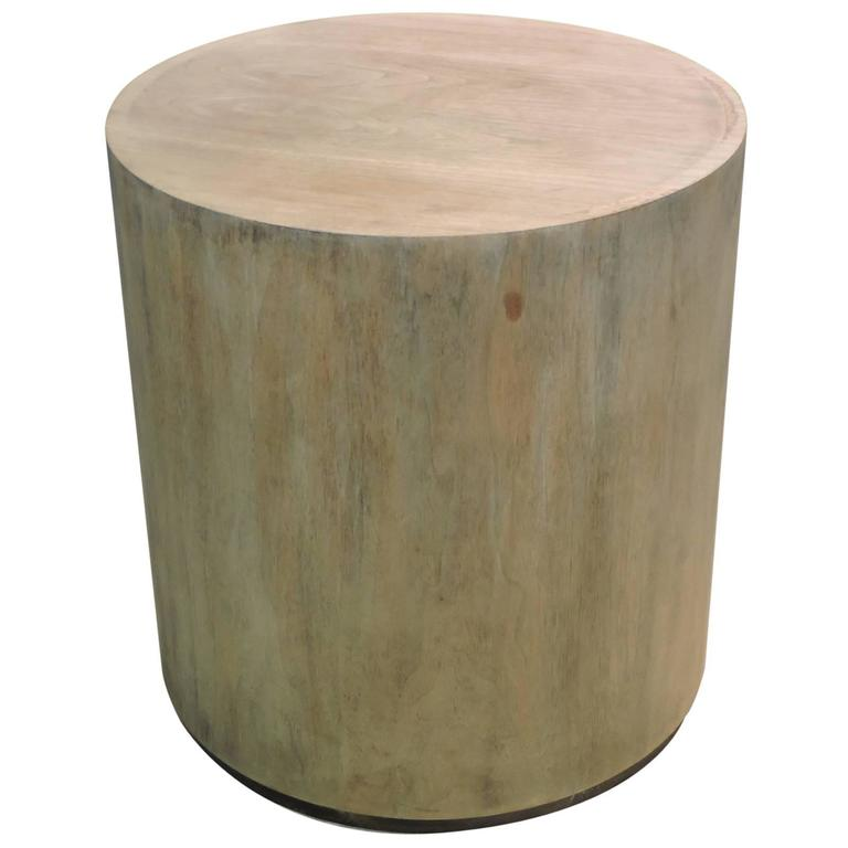 Bleached Parchment Finish Wood Cylinder Pedestal Table For