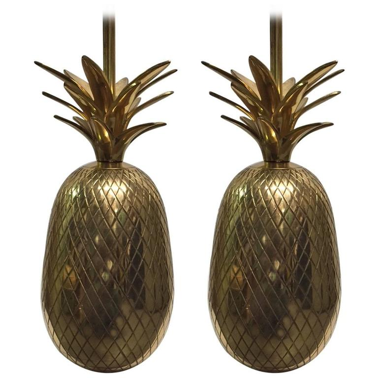 Pair of Hollywood Regency Brass Pineapple Lamps