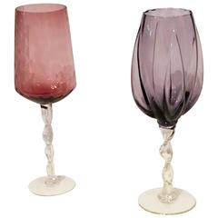 Pair of Hand Blown Over-Sized Brandy Snifters, Vases