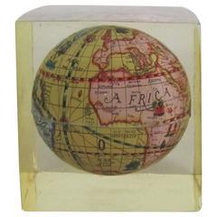 Vintage World Globe Encased in Lucite