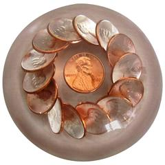 Modern Lucite Copper Penny Paperweight, ca. 1980s