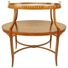 English Satinwood Etagere Tray Table,  circa 1890