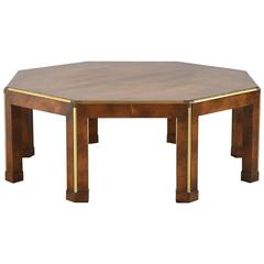 Baker Octagonal Burled Walnut Coffee Table