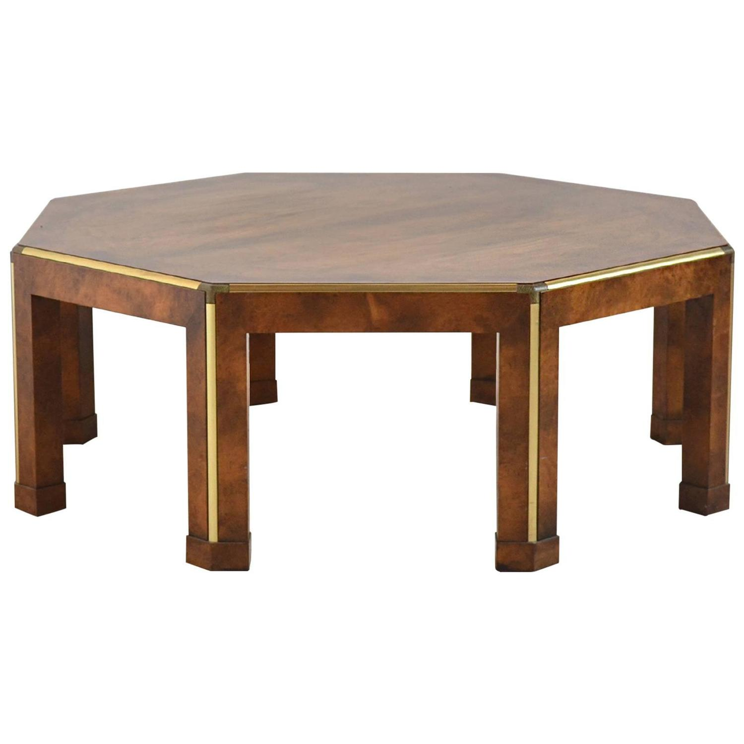 Baker Octagonal Burled Walnut Coffee Table At 1stdibs