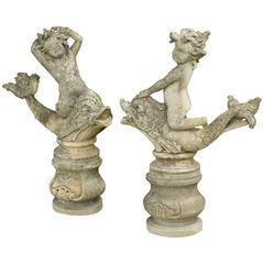 Garden Ornaments, 19th Century Limestone Garden Cherubs Statues