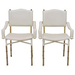 Pair of Jacques Adnet Brass Bamboo Armchairs