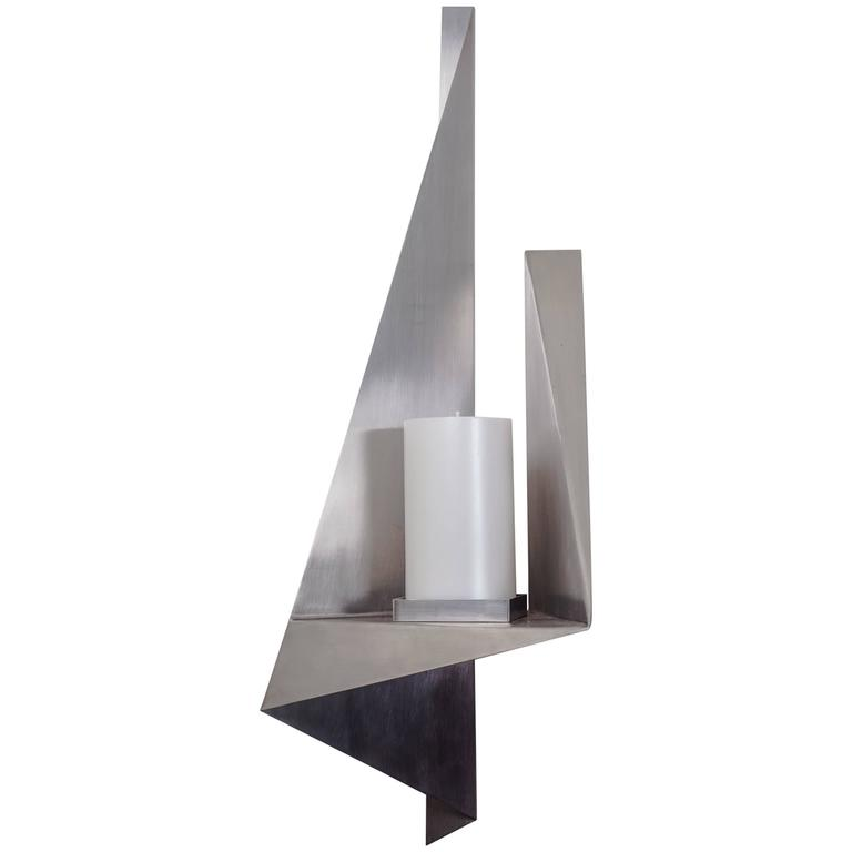 Large Candle Wall Sconce, Custom Stainless Steel, USA, 1970s